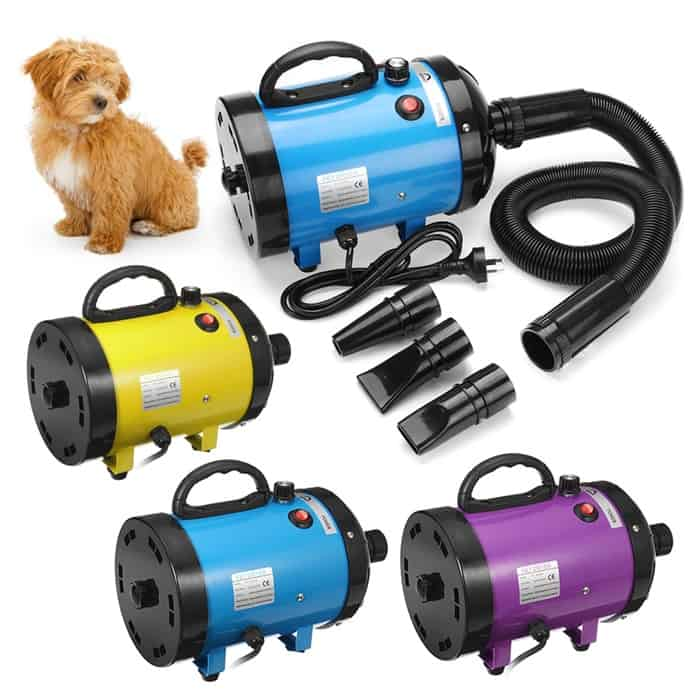 the image contains a dog and 3 sets of the product in different colors