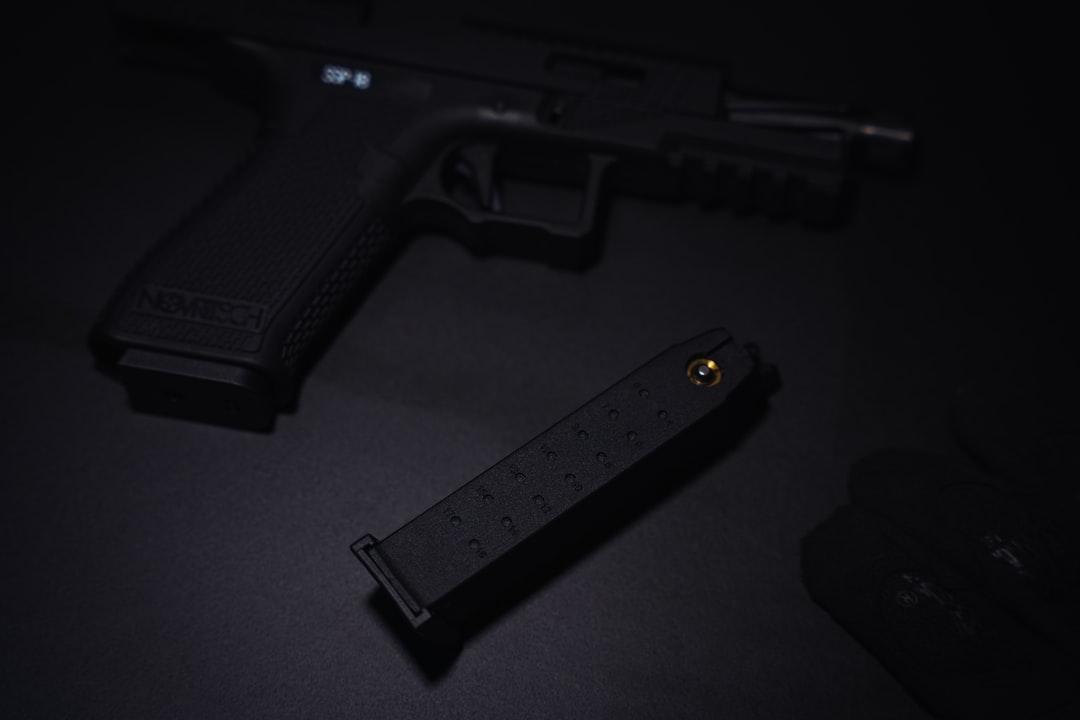 A close up of a gun